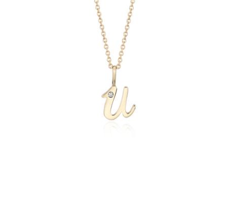 Blue Nile R Mini Initial Diamond Pendant in 14k Yellow Gold yAmsaYXJ