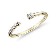 Ultra Mini Diamond Pave Open Stackable Fashion Ring in Yellow Gold
