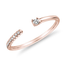 新款 14k 玫瑰金超迷你鑽石密釘開口層疊時尚戒指