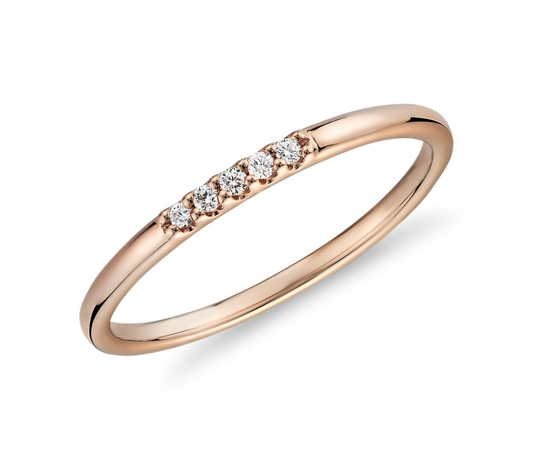 Ultra Mini Diamond Pave Stackable Fashion Ring In 14k Rose Gold