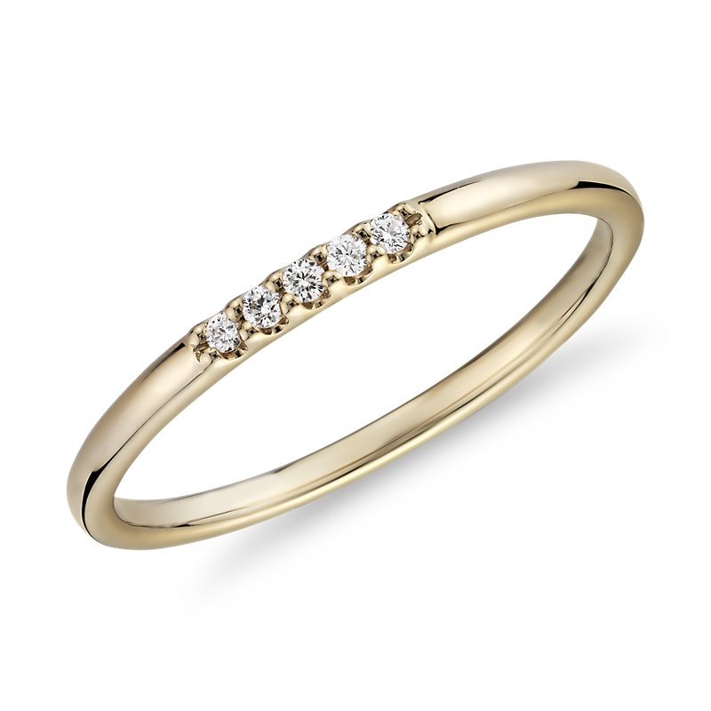 Ultra Mini Diamond Pave Stackable Fashion Ring in 14k Yellow Gold