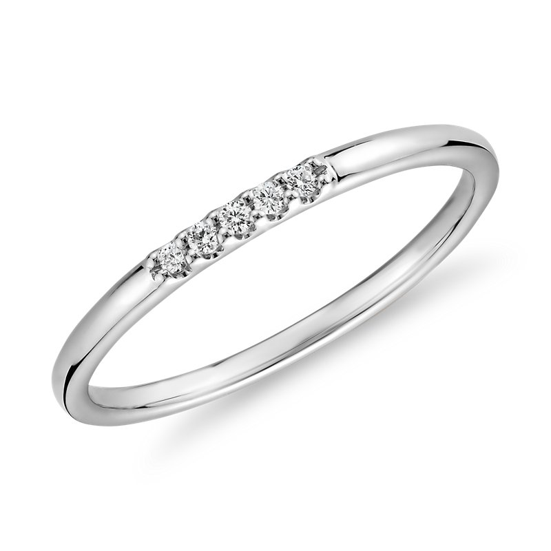 Diamond Baguette and Dot Fashion Ring in 14k White Gold (1/10 ct.