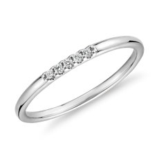 Ultra Mini Diamond Pave Stackable Fashion Ring in 14k White Gold