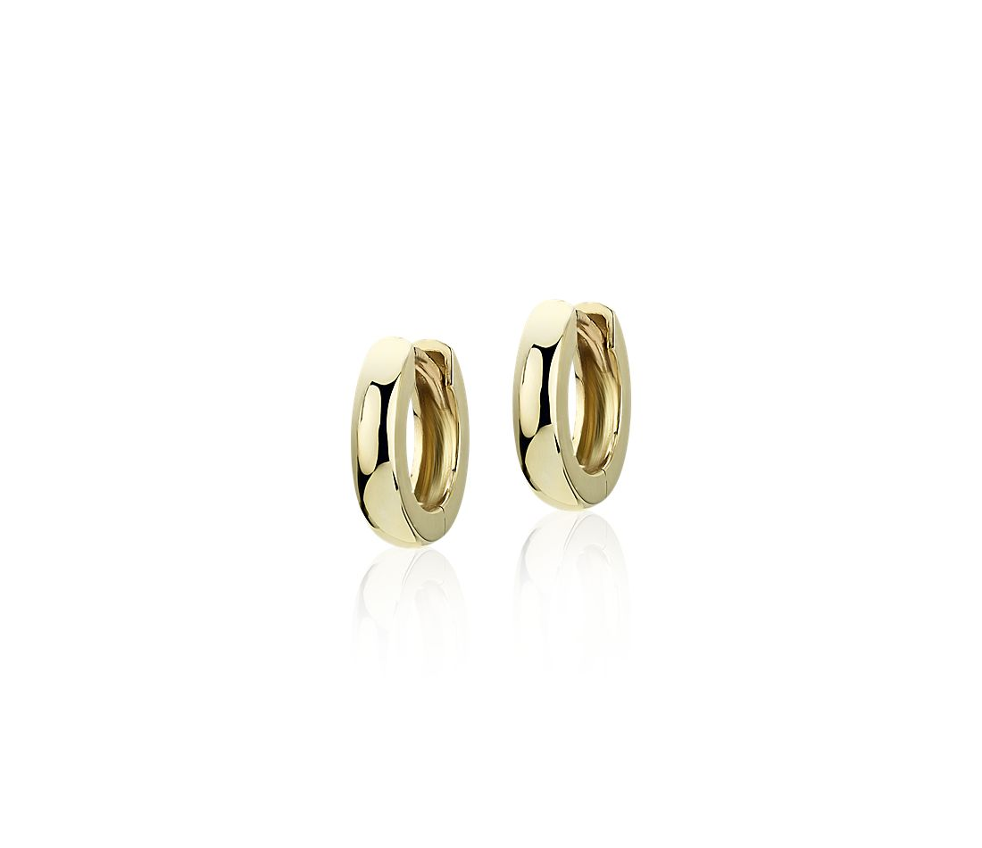 "Ultra Mini Huggie Hoop Earrings in 14k Yellow Gold (7/16"")"
