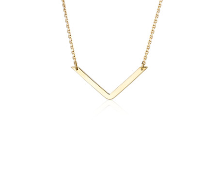 Blue Nile V Necklace in 14k Yellow Gold aXbGn36m