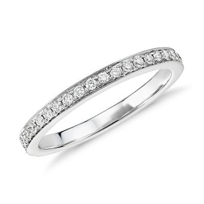 Verona Petite Pav Diamond Ring in 14k White Gold 16 ct tw