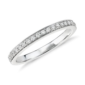 Verona Petite Pavé Diamond Ring in 14k White Gold (1/6 ct. tw.)
