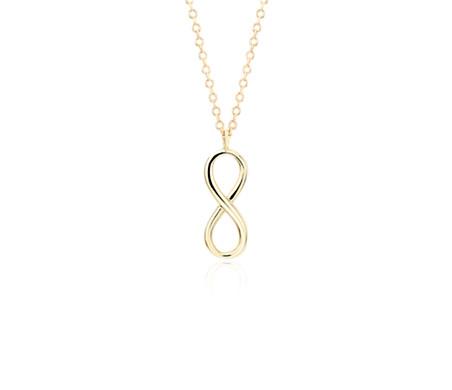 Vertical Infinity Pendant in 14k Yellow Gold