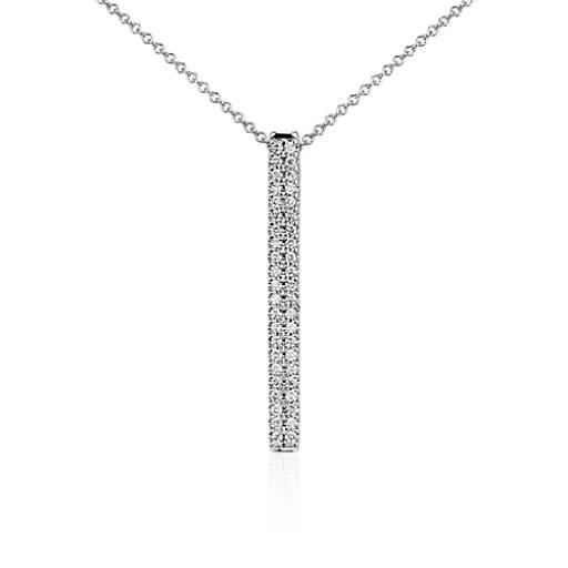 Bar Diamond Pendant In 14k White Gold 1 4 Ct Tw Blue