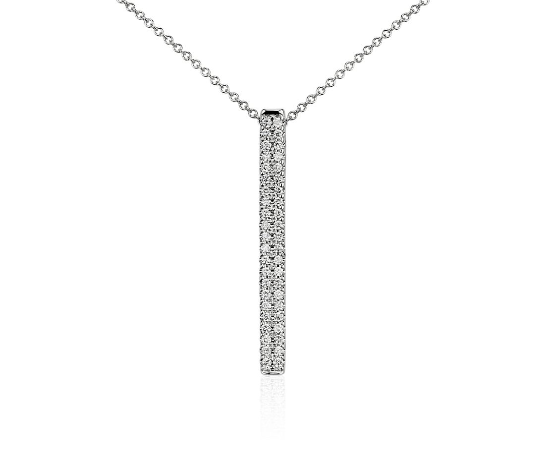 Bar Diamond Pendant in 14k White Gold (1/4 ct. tw.)