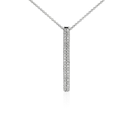 Blue Nile Long Diamond Bar Pendant in 14k Yellow Gold - 30 (1/4 ct. tw.) icEp06a6RT