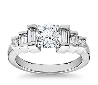 Vertical Step Baguette Side Stone Diamond Engagement Ring