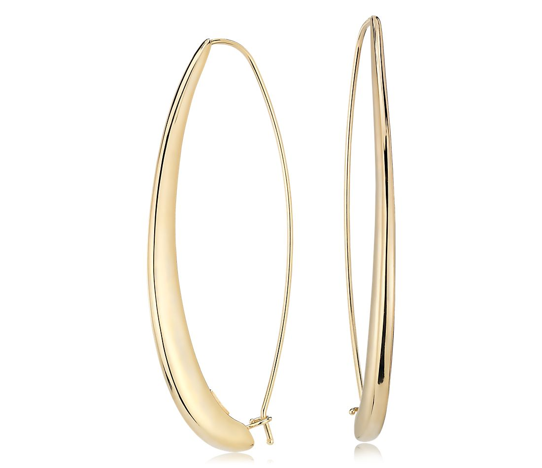 Vertical Stretched Hoop Threader Earrings in 14k Italian Yellow Gold