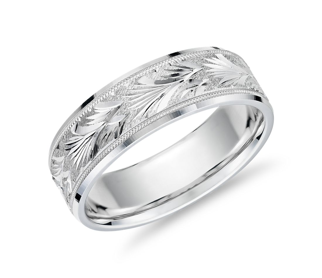 Vintage Engraved Band in 14k White Gold (7mm)