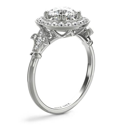 Blue Nile Studio Vintage Fleur de Lis Halo Engagement Ring