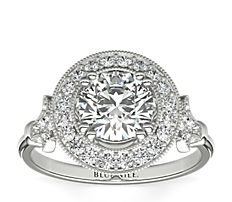 Blue Nile Studio Vintage Fleur de Lis Halo Engagement Ring in Platinum (1/4 ct. tw.)