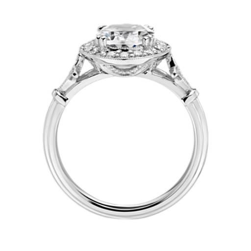 Blue Nile Studio Oval Vintage Fleur de Lis Halo Engagement Ring