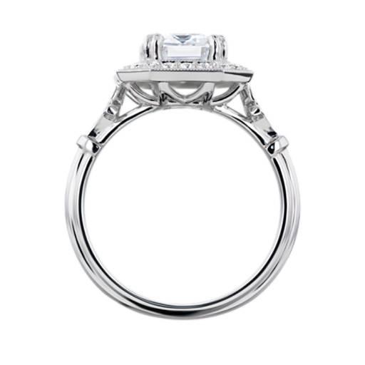 Blue Nile Studio Emerald Vintage Fleur de Lis Halo Engagement Ring