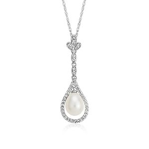 Freshwater Cultured Pearl and White Topaz Vintage-Inspired Pendant in Sterling Silver (7mm)