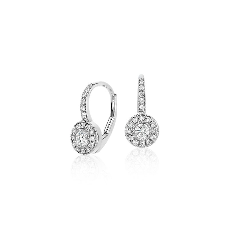 Vintage Halo Diamond Drop Earrings in 14k White Gold (1/3 ct. tw.