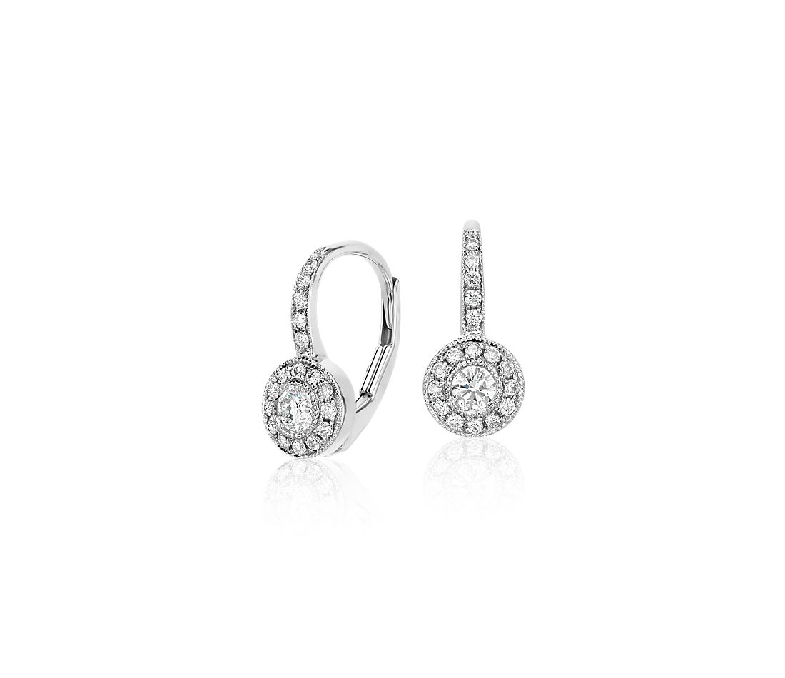 Vintage Halo Diamond Drop Earrings In 14k White Gold 1 3 Ct Tw