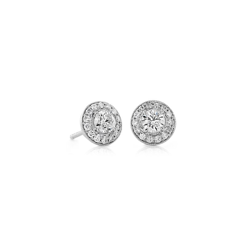 Vintage-Inspired Halo Diamond Earrings in 14k White Gold (3/4 ct.