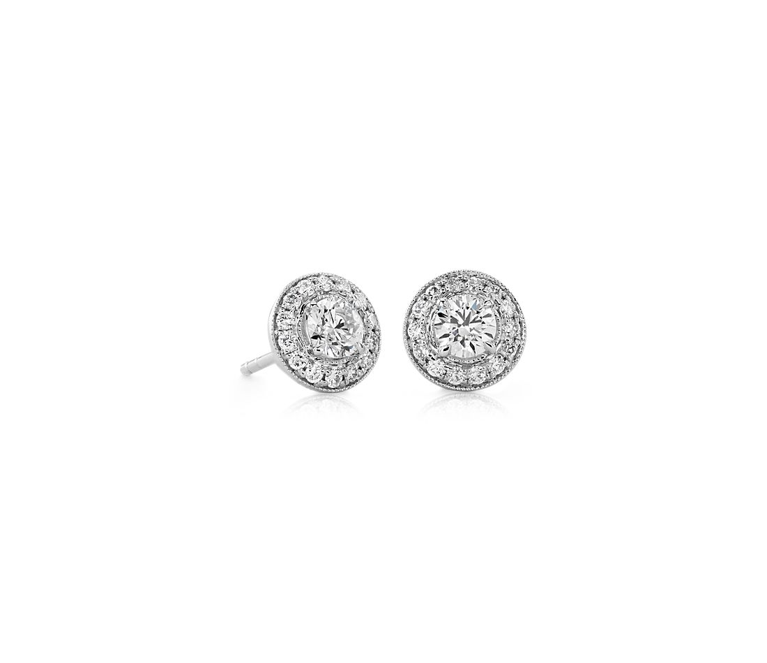 626a72eee035 Vintage-Inspired Halo Diamond Earrings in 14k White Gold (3 4 ct. tw ...