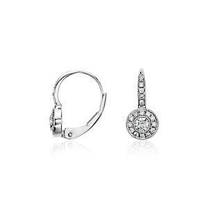 Vintage Halo Diamond Earrings in 14k White Gold (1/3 ct. tw.)