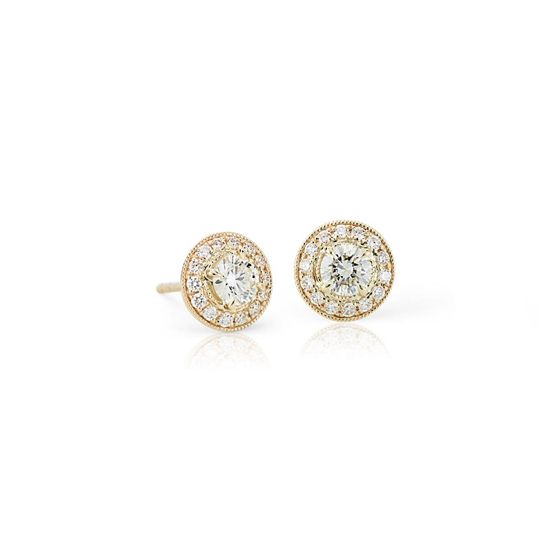 Vintage-Inspired Halo Diamond Earrings in 14k Yellow Gold (3/4 ct