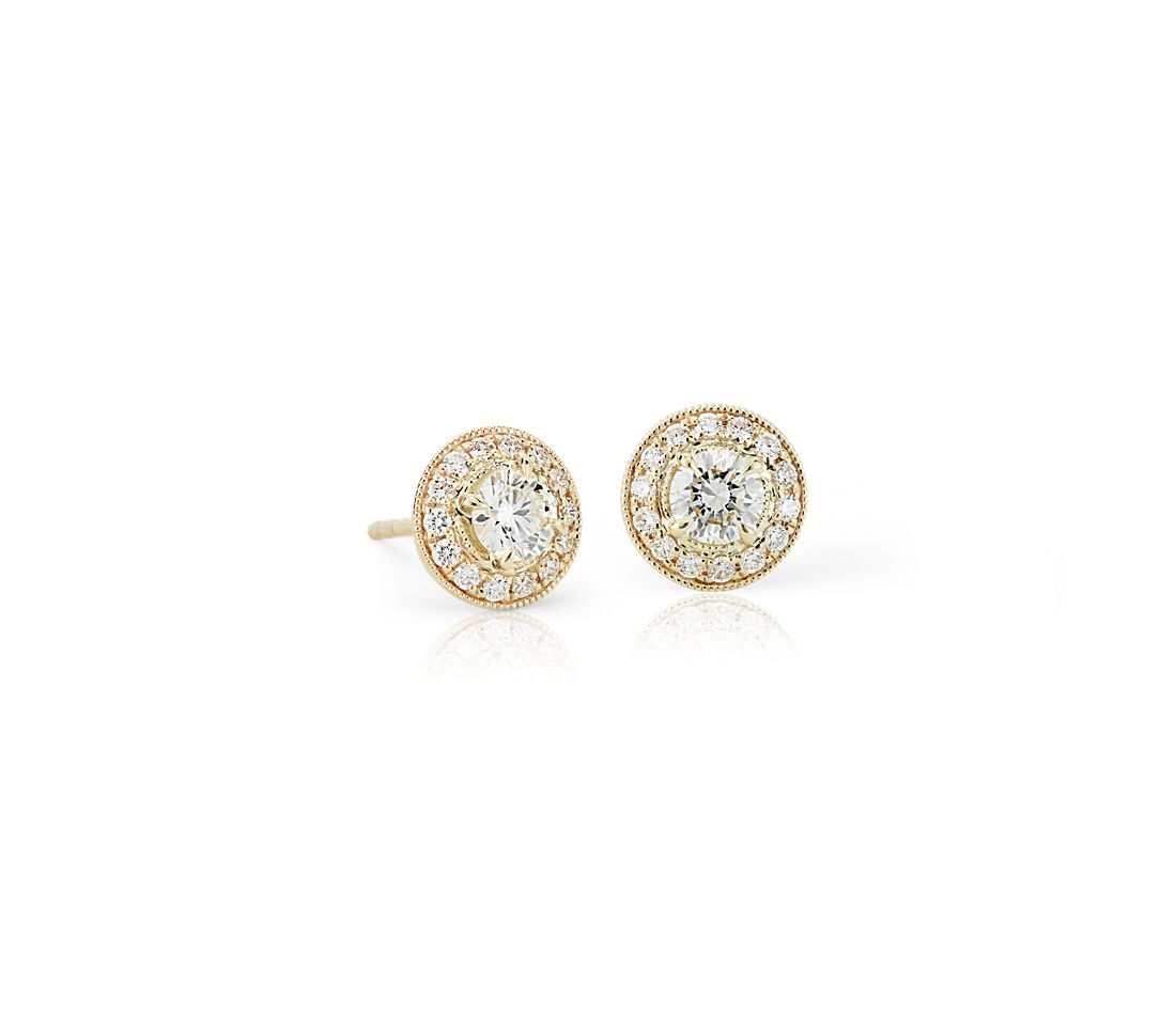 08f9a1b5147 Vintage-Inspired Halo Diamond Earrings in 14k Yellow Gold (3 4 ct ...