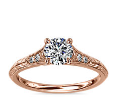 Vintage Hand-Engraved Diamond Engagement Ring with Milgrain in 14k Rose Gold