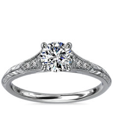 Vintage Hand-Engraved Diamond Engagement Ring with Milgrain in 14k White Gold