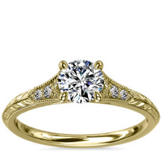 Vintage Hand-Engraved Diamond Engagement Ring with Milgrain in 14k Yellow Gold
