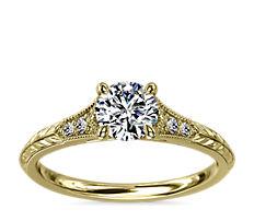 14k 金复古手工镌刻钻石带锯状滚边订婚戒指