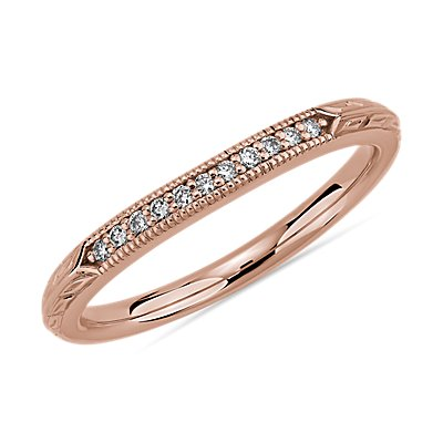 Vintage Hand Engraved Diamond Wedding Ring in 14k Rose Gold