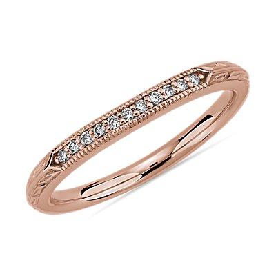 14k 玫瑰金复古手工镌刻钻石结婚戒指