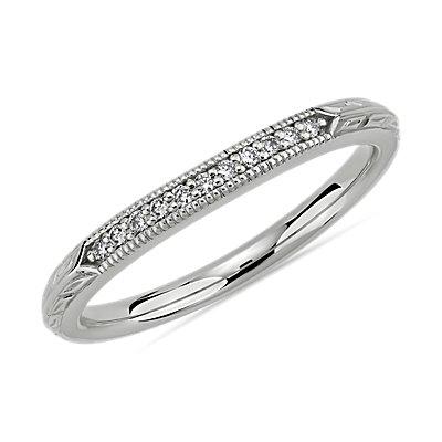 14k 白金复古手工镌刻钻石结婚戒指