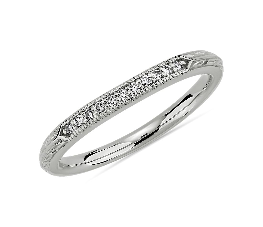 Vintage Hand Engraved Diamond Wedding Ring in 14k White Gold