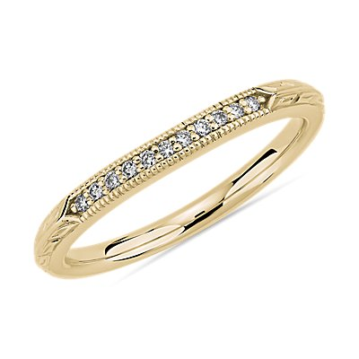 Vintage Hand Engraved Diamond Wedding Ring in 14k Yellow Gold