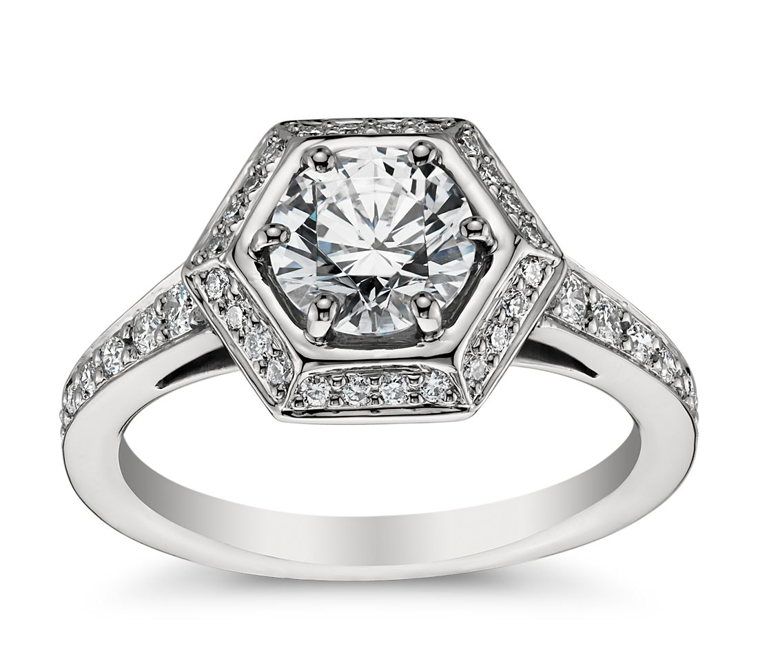 Vintage Hexagon Halo Engagement Ring in Platinum (1/3 ct. tw.)