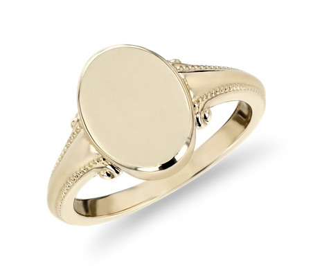 Vintage-Inspired High Polish Signet Fashion Ring in 14k Yellow Gold