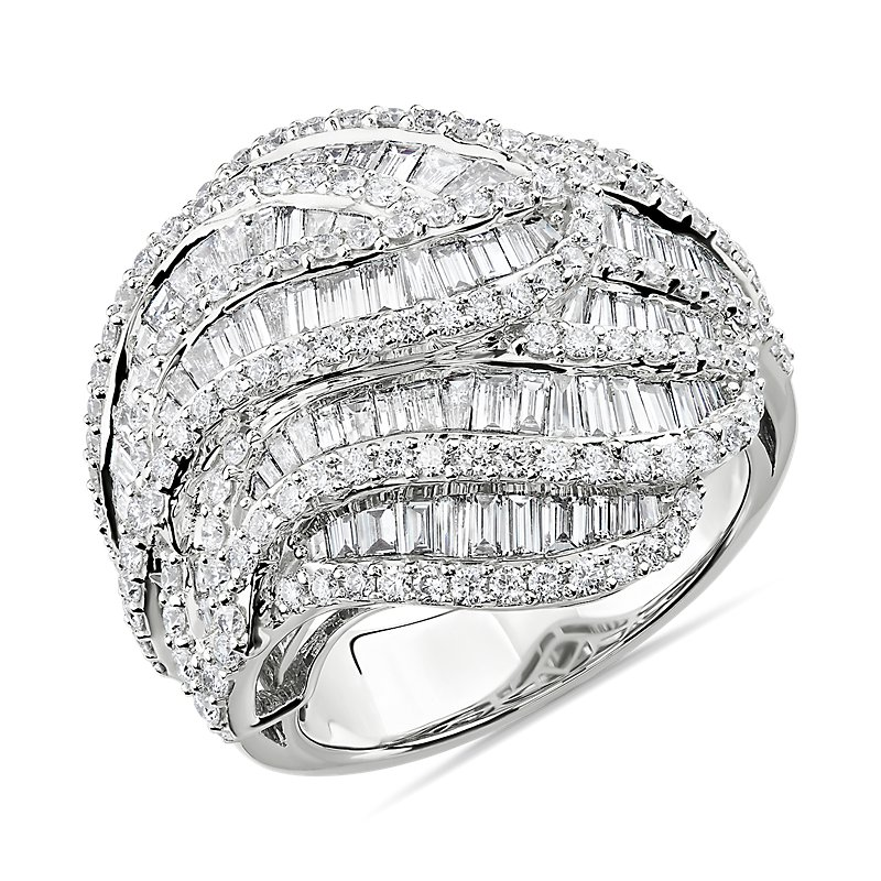 Vintage Inspired Diamond Baguette Ring in 14k White Gold (2 3/4 c
