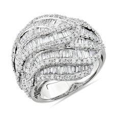 14k 白金复古风格长方形钻石戒指<br>(2 3/4 克拉总重量)