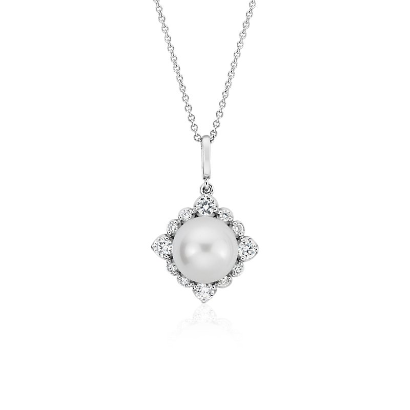 Vintage-Inspired Freshwater Cultured Pearl Diamond Halo Pendant i