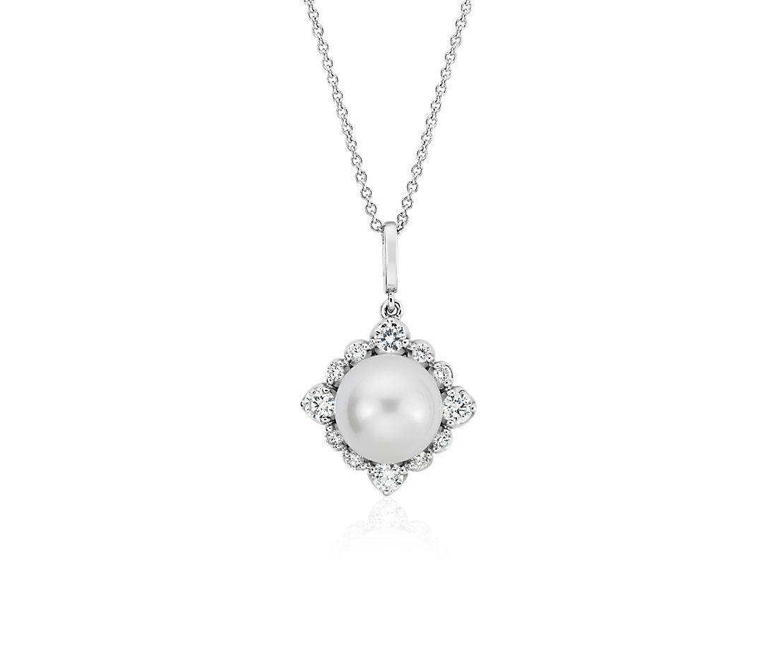 Vintage-Inspired Freshwater Cultured Pearl Diamond Halo Pendant in 14k White Gold (8-8.5mm)