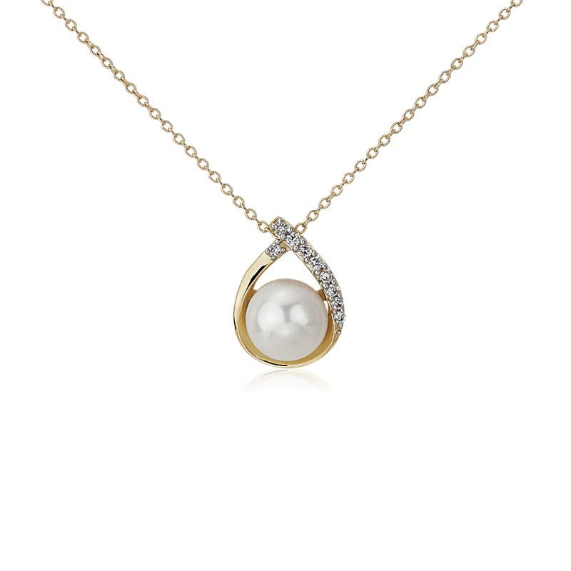 Vintage-Inspired Freshwater Cultured Pearl and Diamond Teardrop P