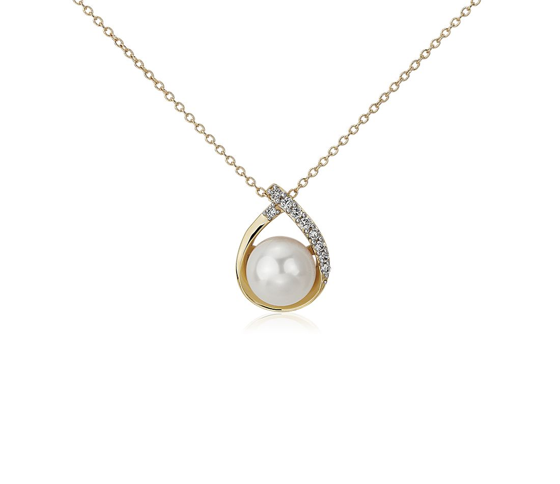 Vintage-Inspired Freshwater Cultured Pearl and Diamond Teardrop Pendant in 14k Yellow Gold (7.5-8mm)