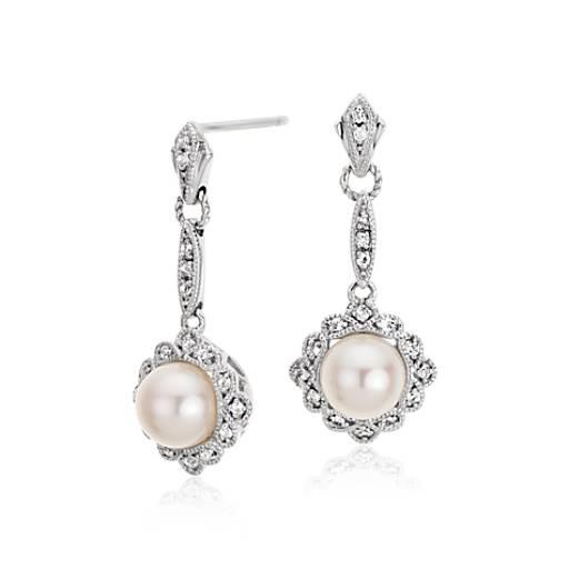 Vintage Inspired Freshwater Cultured Pearl Drop Earrings