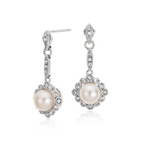 Vintage-Inspired Freshwater Cultured Pearl Drop Earrings in Sterling Silver (6mm)