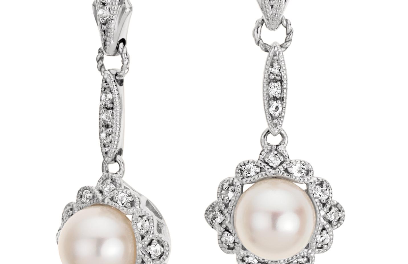 Boucles d'oreilles perles de culture d'eau douce d'inspiration vintage en argent sterling (6mm)